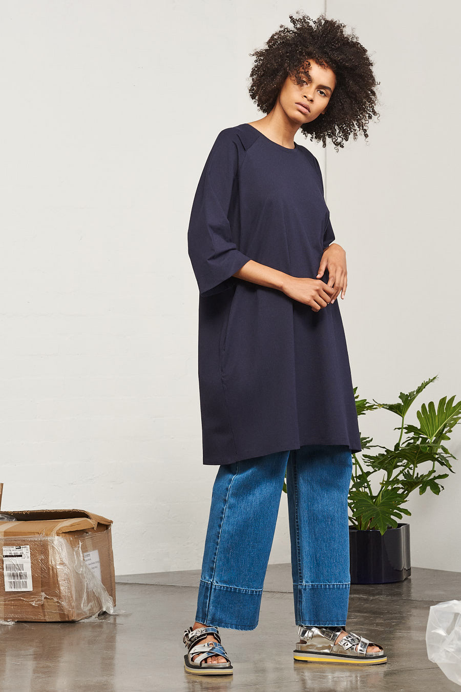 Building Block Oversized Tee Dress - Navy