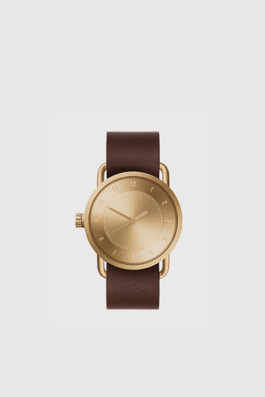 No. 1 40mm - Gold / Walnut Leather Wristband