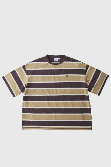 One Point Slit Tee - Dark Brown x Beige