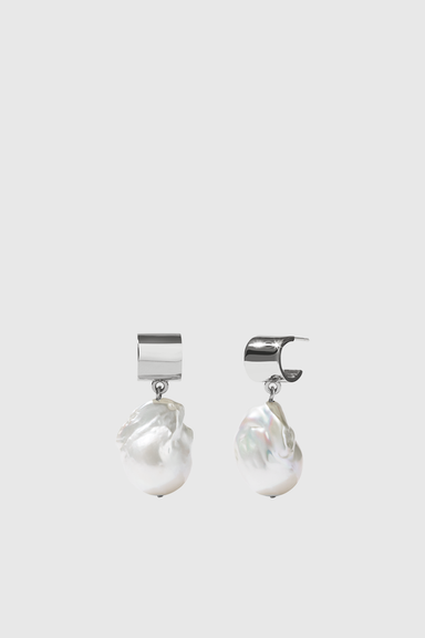 Cuff Pearl Drop Earrings - Sterling Silver