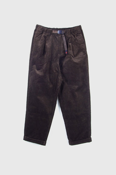 Corduroy Tuck Tapered Pants - Dark Brown