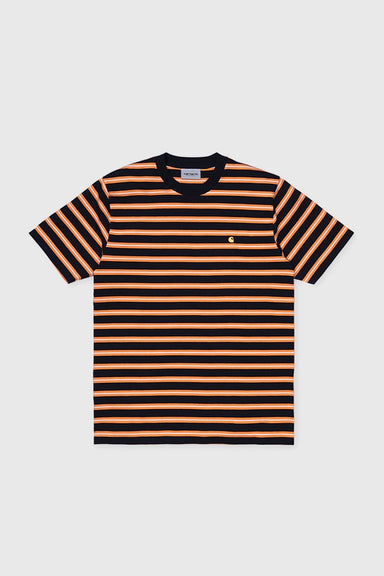 S/S Oakland T-shirt - Dark Navy / Orange Stripe
