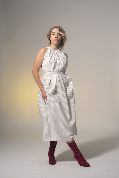Little Wonder Dress - Cotton Pinstripe