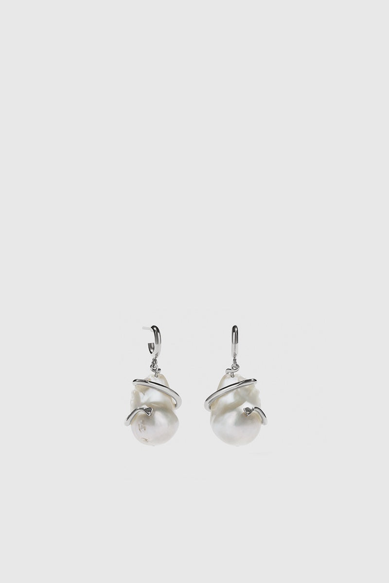 Medusa Coiled Pearl Earrings - Sterling Silver