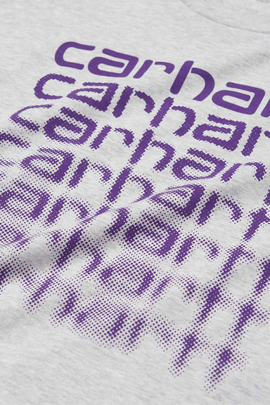 S/S Fading Script T-shirt - Ash Heather / Purple