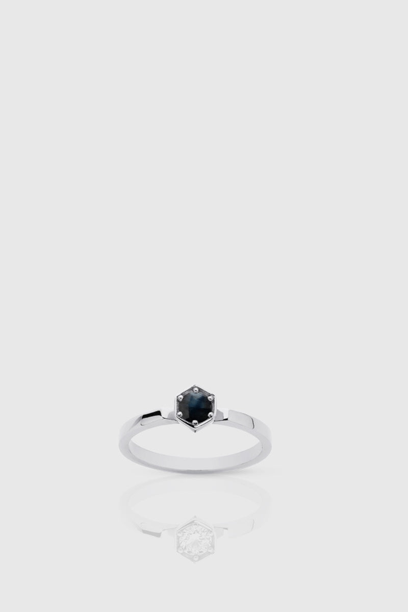 Hexagon Solitaire Ring - Midnight Sapphire / Silver