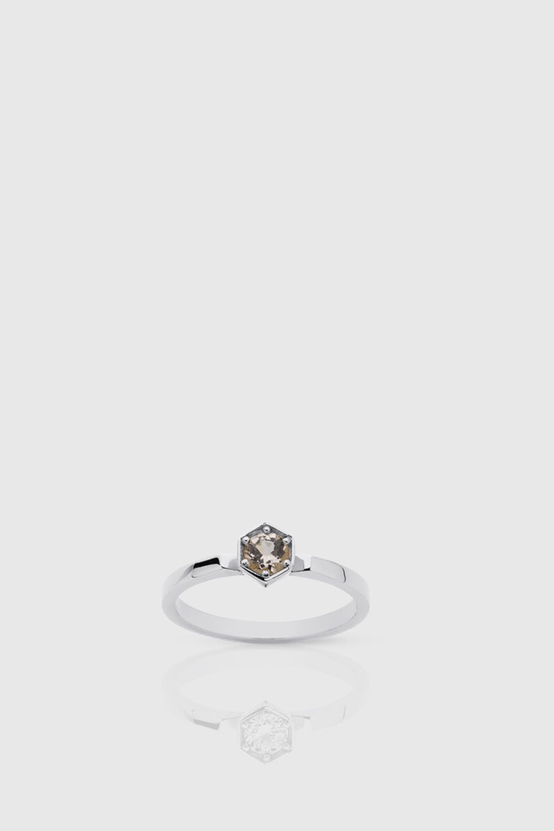 Hexagon Solitaire Ring - Morganite / Silver