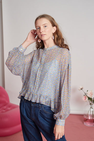 Lisa Blouse - Blue Floral Silk