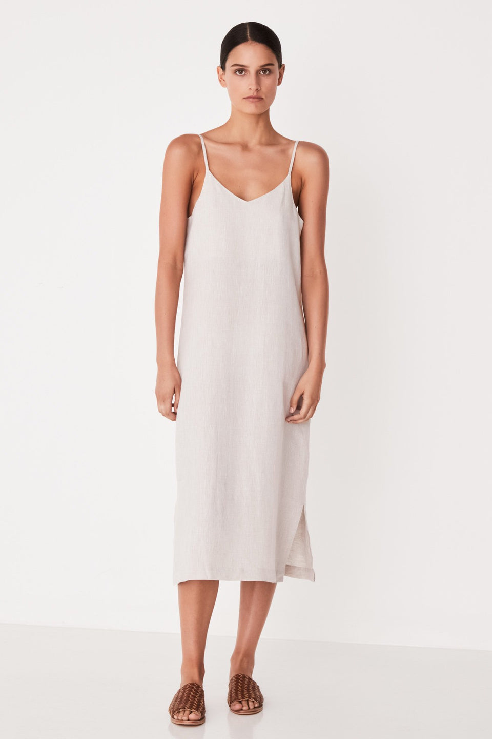 Linen Slip Dress - Oat Marle