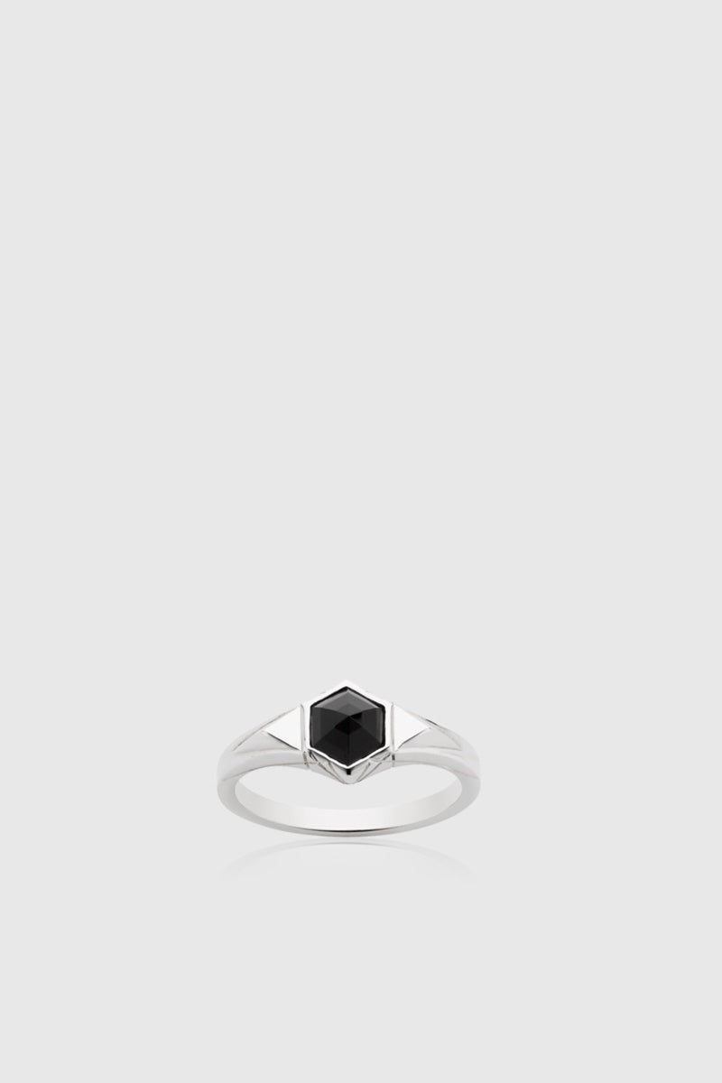 Mini Hexagon Stone Ring - Sterling Silver - Onyx