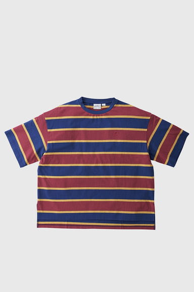 One Point Slit Tee - Navy x Wine