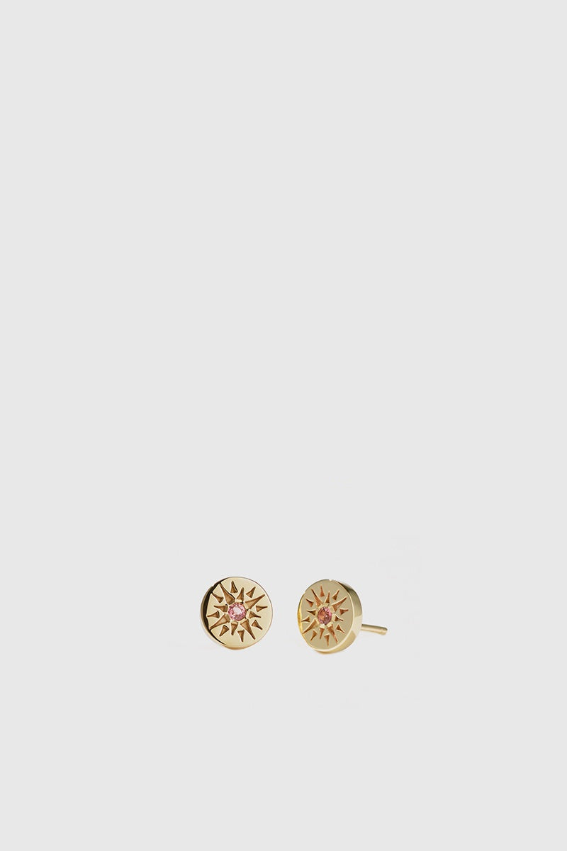 Ursa Studs Stone Set - Gold Plated/Pink Tourmaline