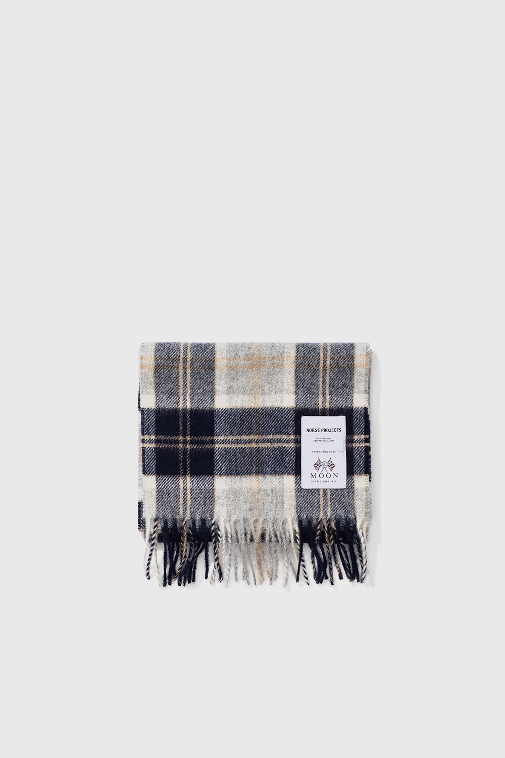 Moon Checked Lambswool Scarf - Navy