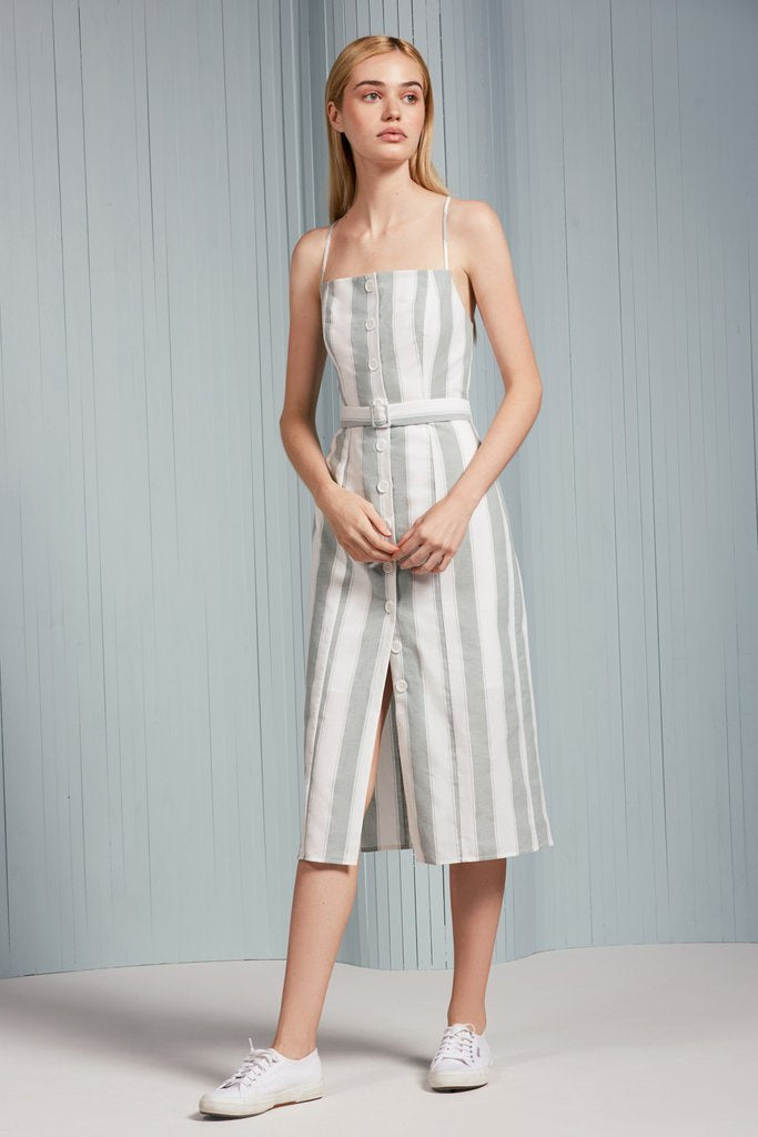 Poetic Stripe Dress - Sage/White