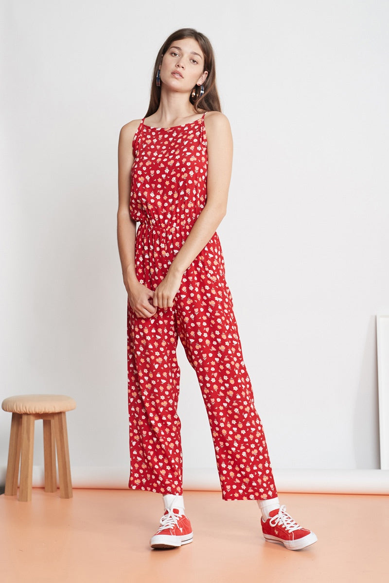 The Kiss Hello Jumpsuit - Red Meadow