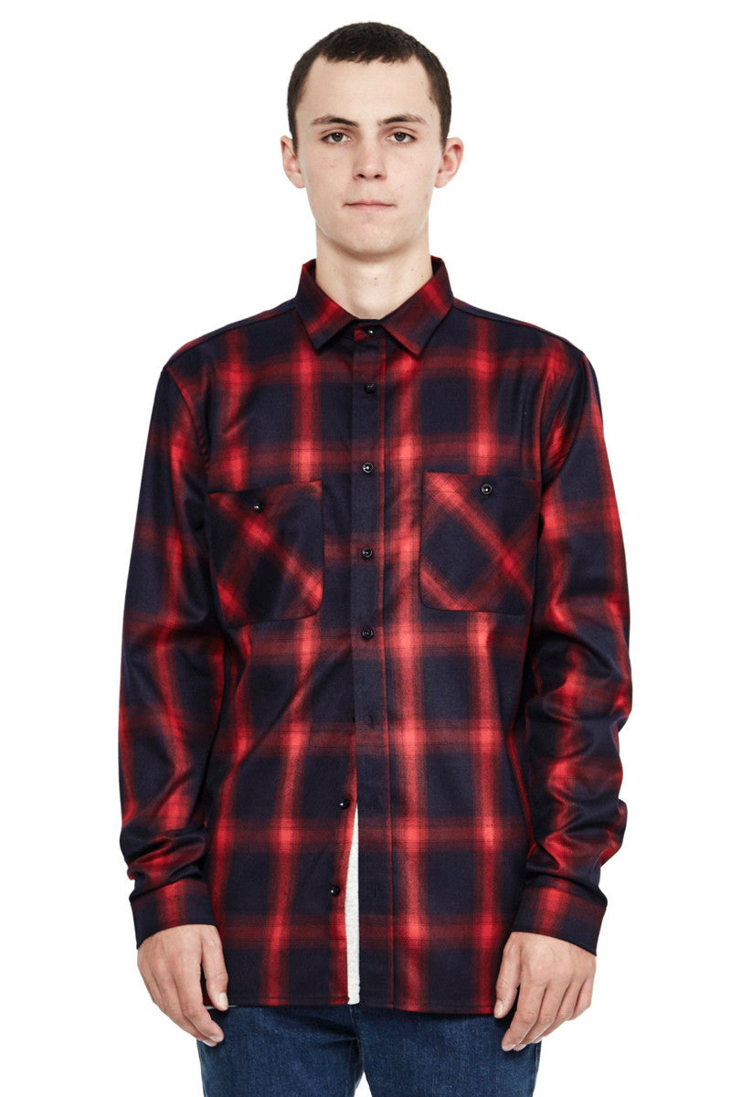 Check Flannel Overshirt - Red/Blue
