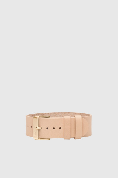 Natural Leather Wristband - Gold
