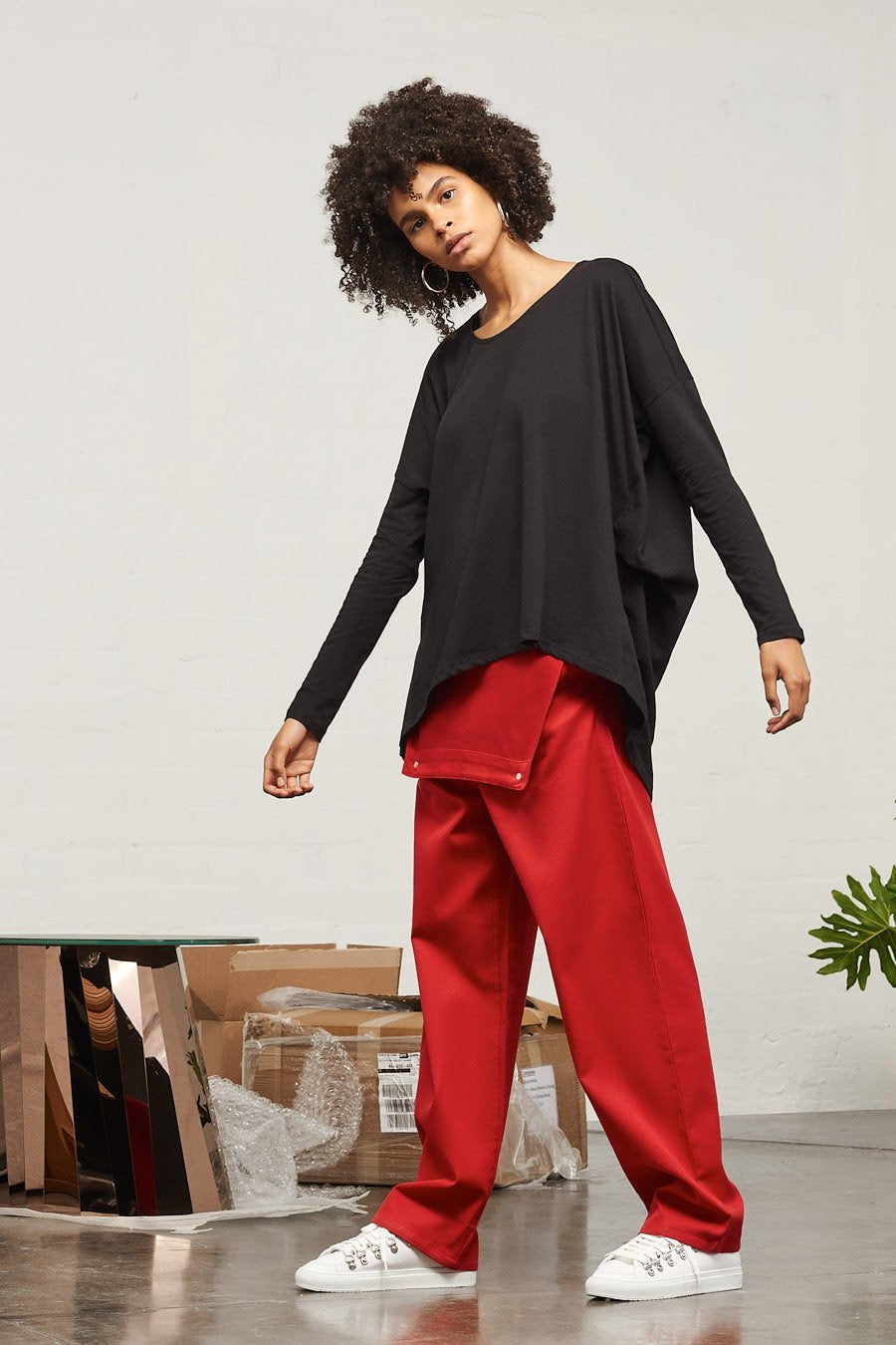 Building Block Drape Top - Black