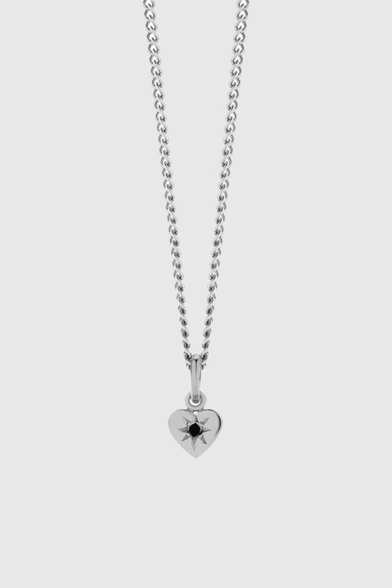 Diamond Heart Necklace - Sterling Silver/Ruby