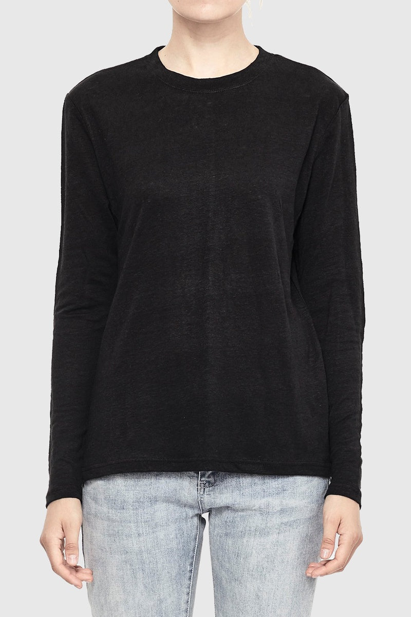 Luxe Linen Long Sleeve Tee - Black