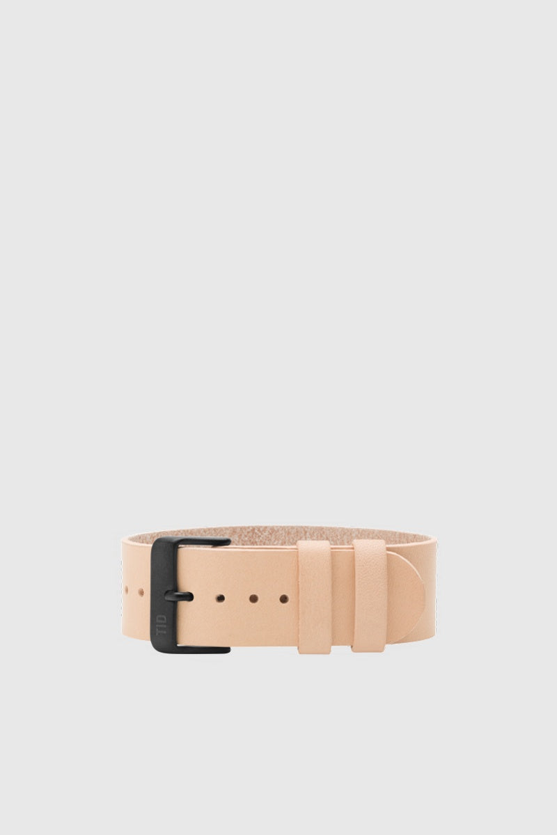 Natural Leather Wristband - Black