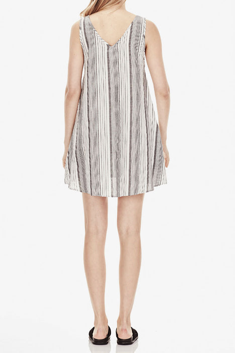 V Neck Shift Dress - Grey Stripe