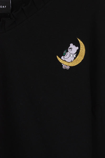 Chillin On The Moon Cropped Sweat - Black