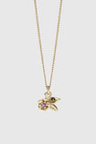 Alba Charm Necklace Stone Set - Gold Plated/Pink Sapphire