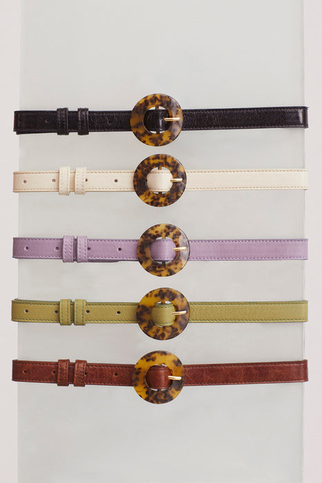 Sabela Leather Belt - Purple