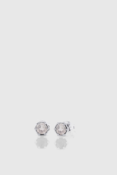Hexagon Stone Studs - Sterling Silver/Rose Quartz