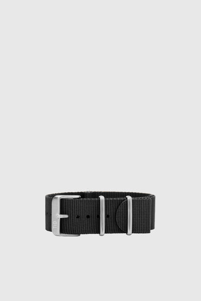 Black Nylon Wristband - Steel