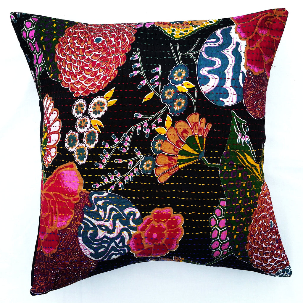 Tropical Kantha<br>Hand-embroidered