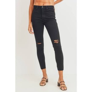 High Rise Destroyed Skinny Jean in Black