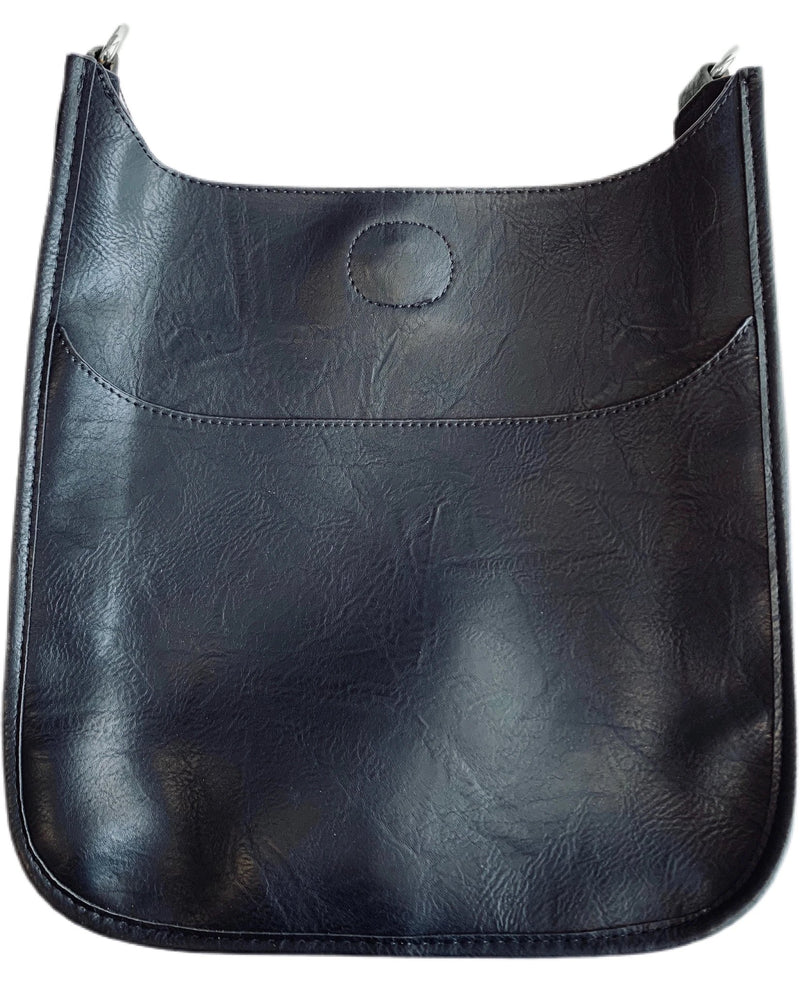 Vegan Leather Messenger Bag in Black w/ Silver Hardware