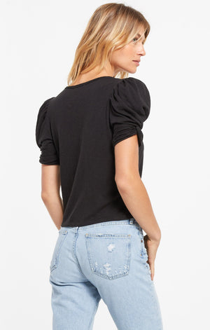 Puff Sleeve Tee in Black
