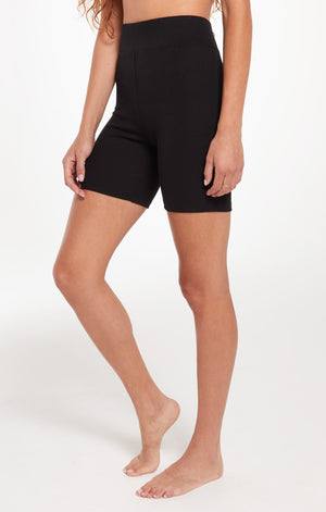 Ribbed Bike Short in Black