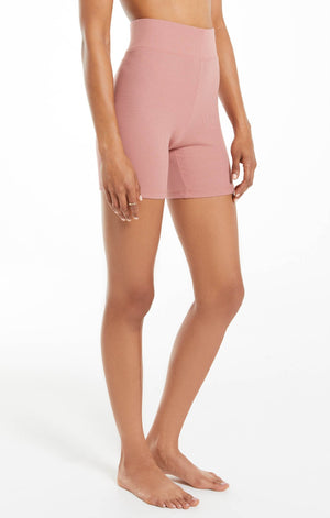 Ribbed Bike Short in Rose