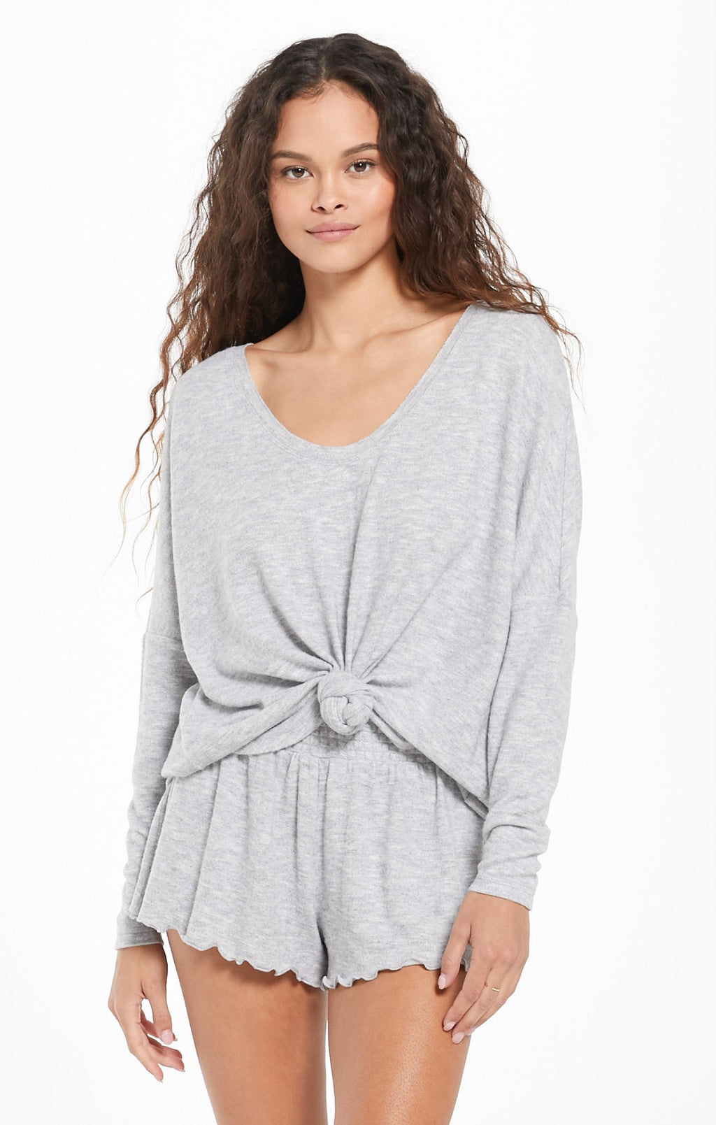 Long Sleeve Lounge Top in Grey