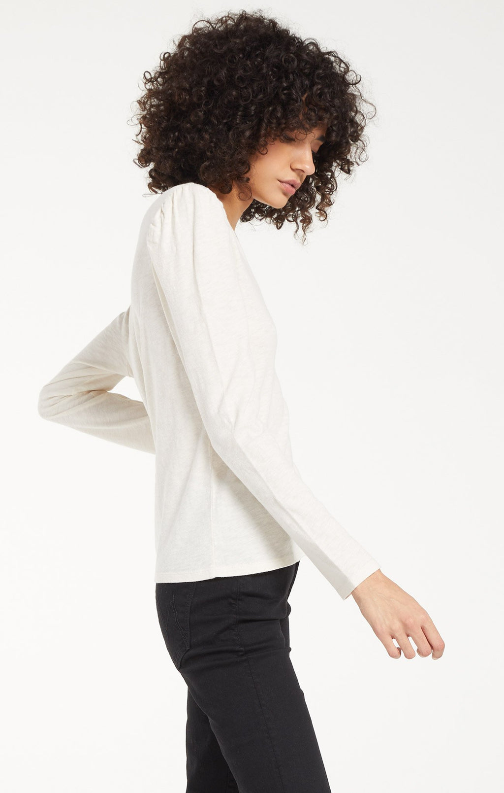 Puff Sleeve Long Sleeve in Ivory