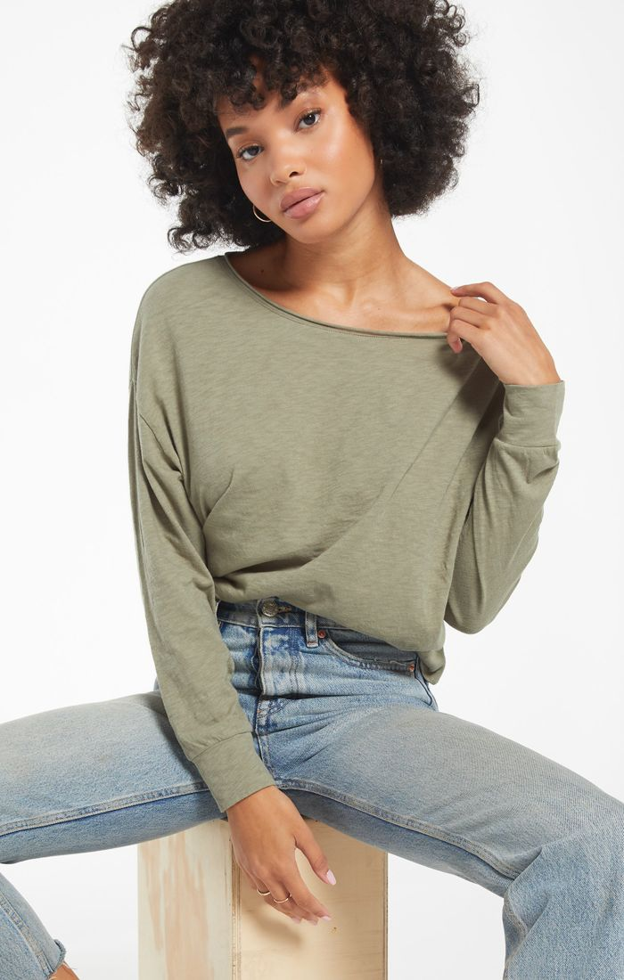 Slub Top in Olive