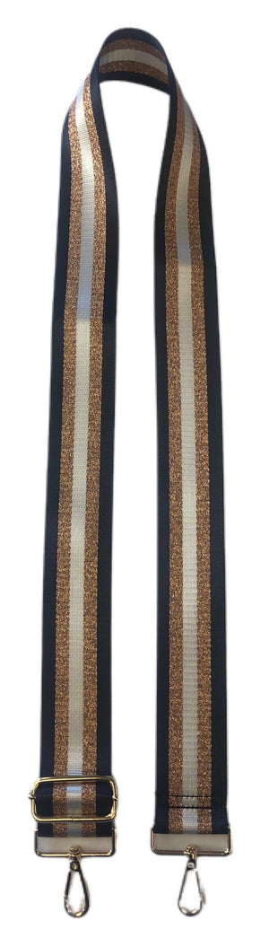 Navy & Gold Striped Bag Strap w/ Gold Hardware