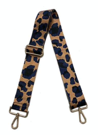 Navy Leopard Bag Strap