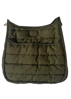 Puffy Sport Messenger Bag in Olive