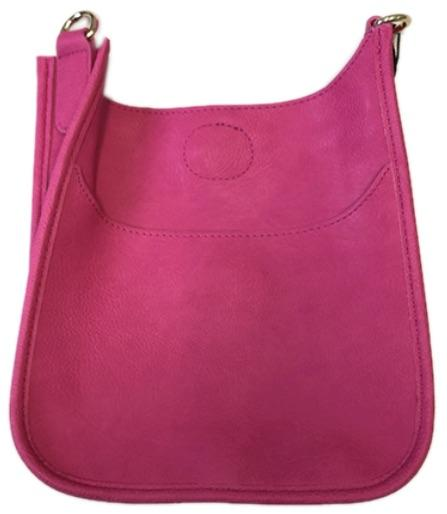 Hot Pink Mini Vegan Leather Messenger Bag