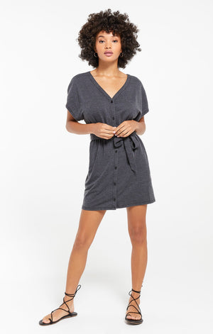 Terry Dress in Charcoal