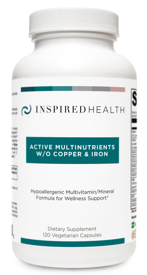 Active Multinutrients :: WITHOUT Copper + Iron -Inspired Health Apothecary - Optimal Health, Methylated Multi Vitamin