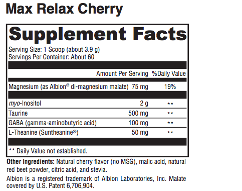 Max Relax (cherry) - Inspired Health Apothecary - Insomnia, Sleep Support, Anxiety