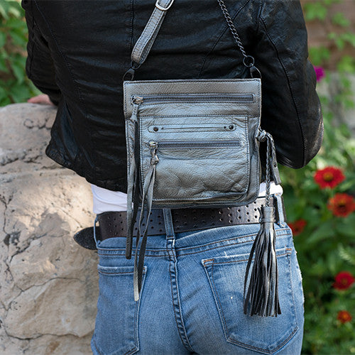 Metallic Silver Handmade Leather Cross Body Brings Up Your Black