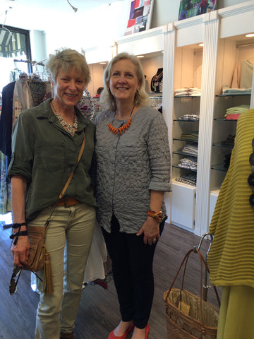 Posh owner Lynn Williams with Embrazio leather accessories co-founder Stephanie Boyles