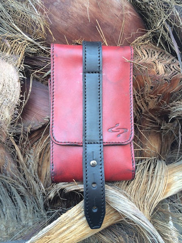 Red Piatto Leather Phone Holster